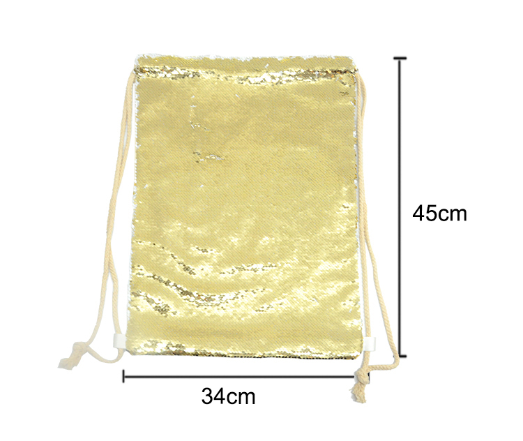 Sequin Drawstring Bag-Gold