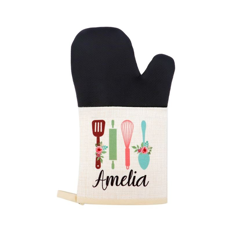 Linen Oven Mitt with Rubber Patch