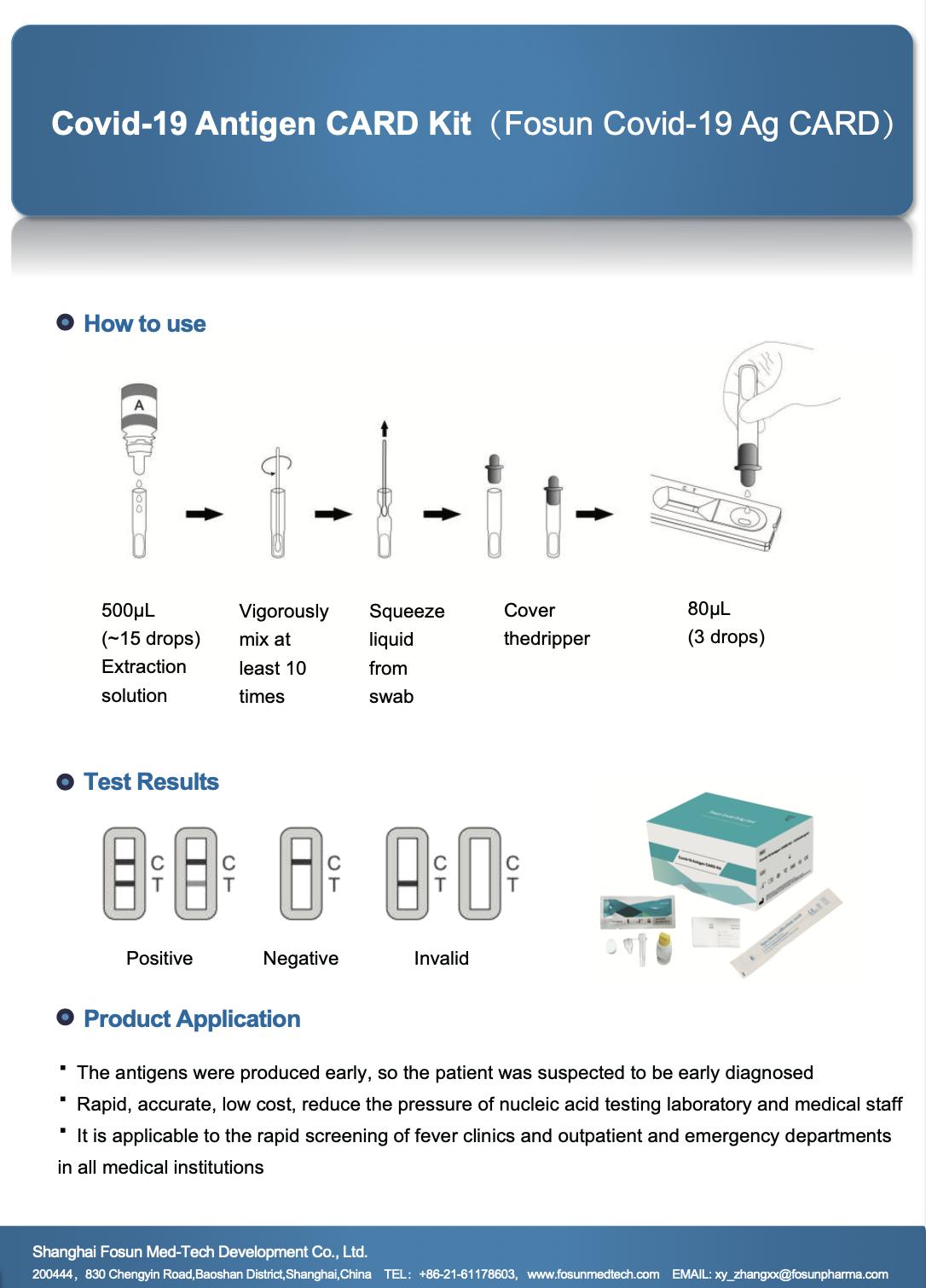 Covid-19 Antigen CARD Kit(Fosun Covid-19 Ag CARD)