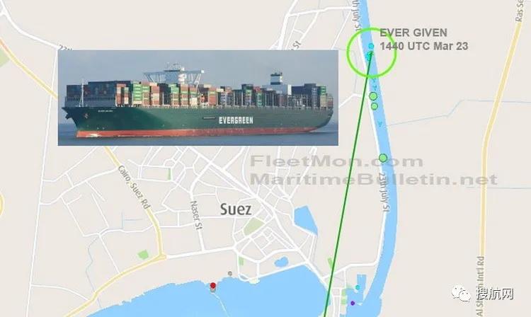 突发丨一艘大型箱船搁浅,苏伊士运河大堵塞,双向航道封锁!曾挂靠国内多个重要港口!