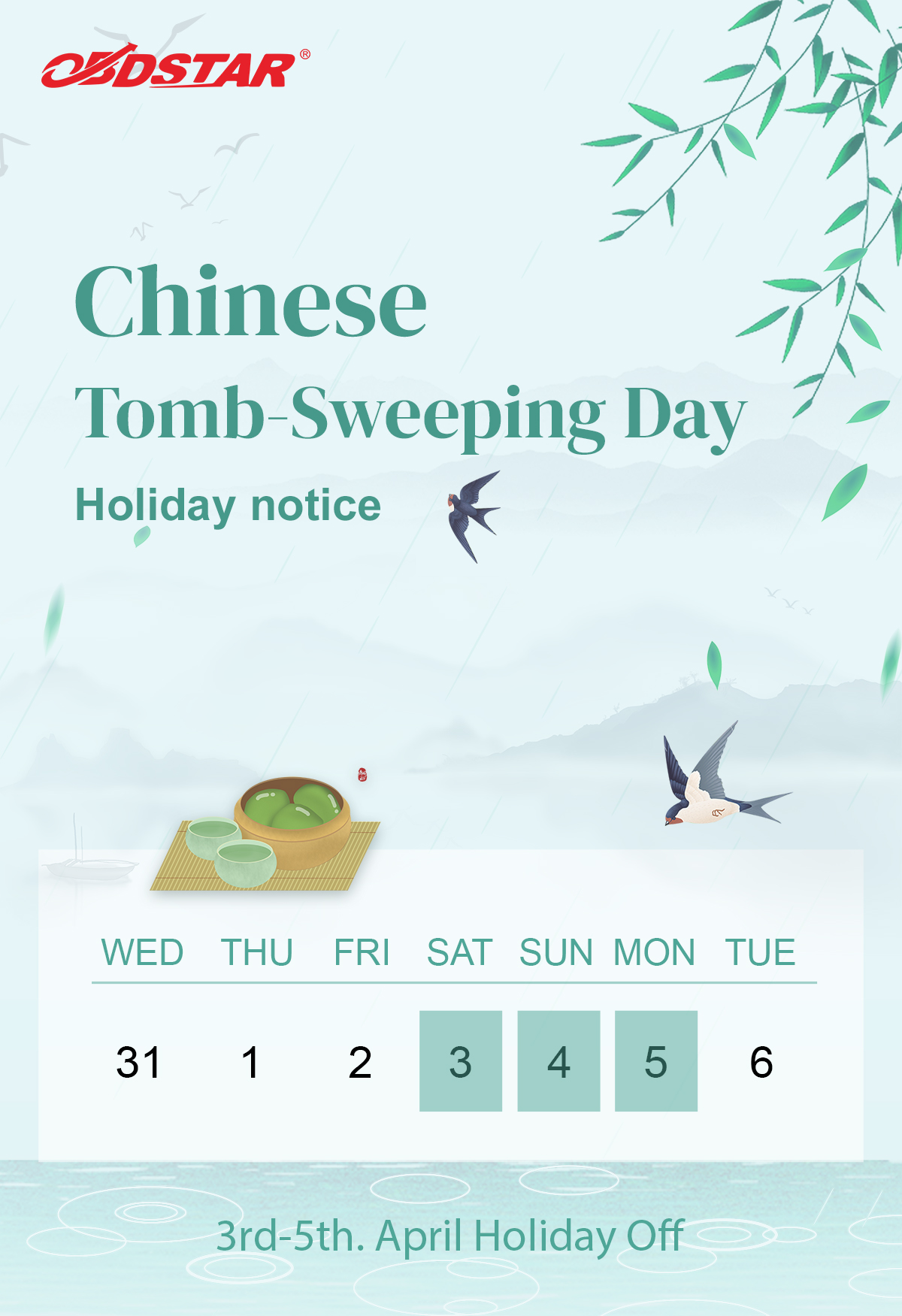 2021 Chinese Tomb Sweeping Holiday Notice