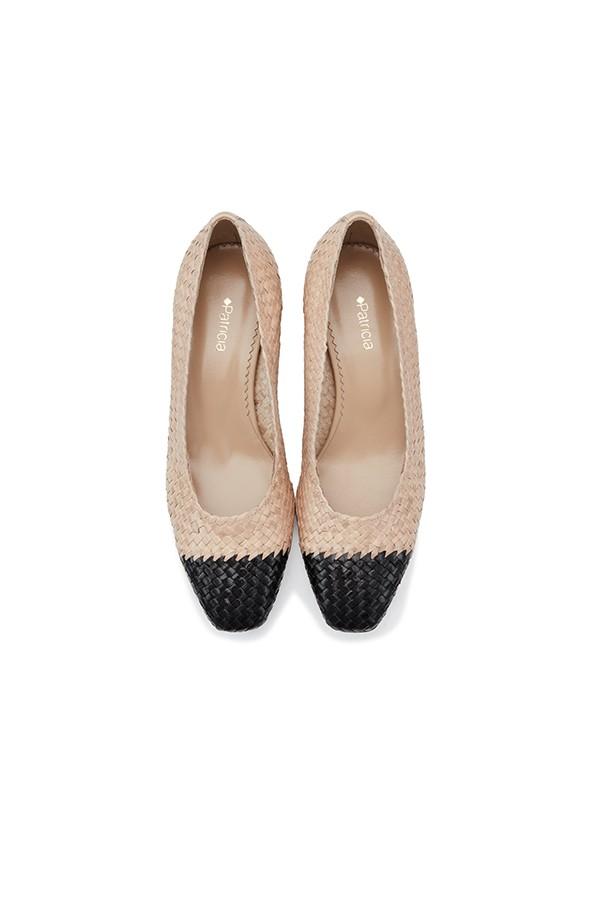 小香风撞色羊皮编织粗跟浅口单鞋
