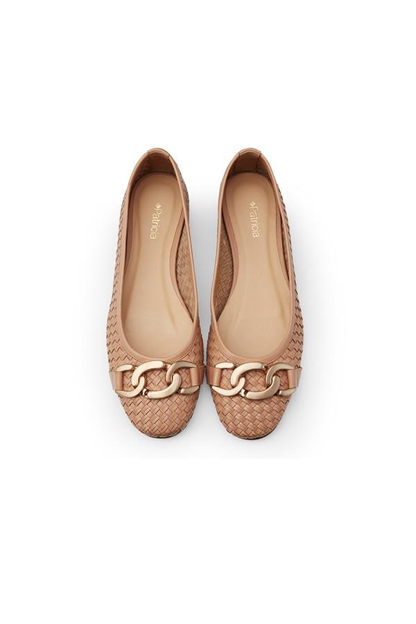 金属饰扣羊皮编织芭蕾舞鞋