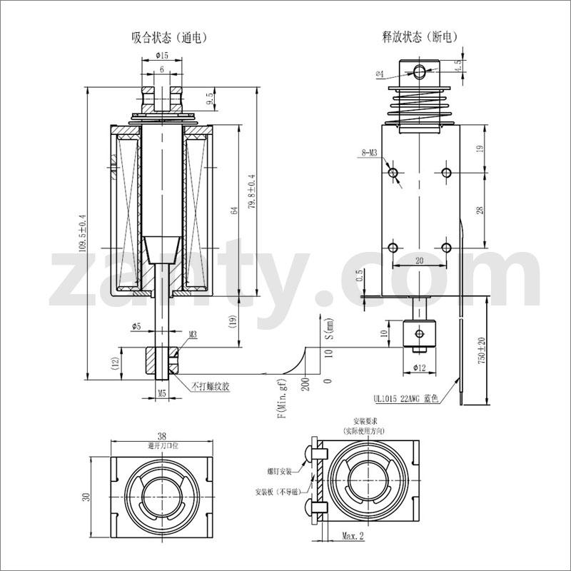 SDO-1564S系列电磁铁 自动化设备中大型尺寸推拉电磁铁螺线管