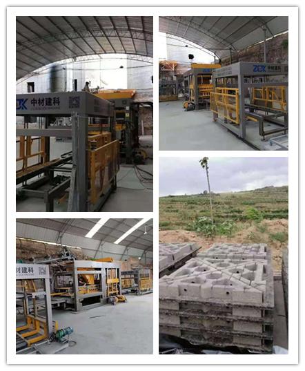 南水北调工程使用中材建科砌块成型机生产三角护坡砖