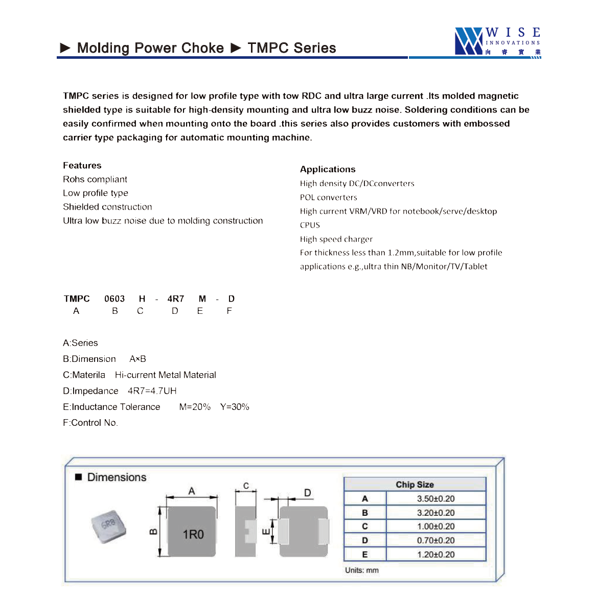 Molding Type high current power inductors