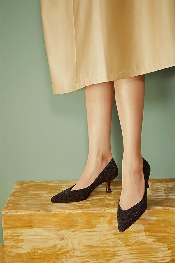 金色细闪柔软反绒皮浅口单鞋