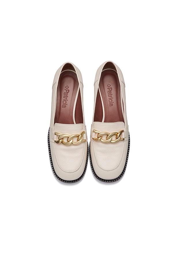 金色链条扣垂直中粗跟乐福鞋