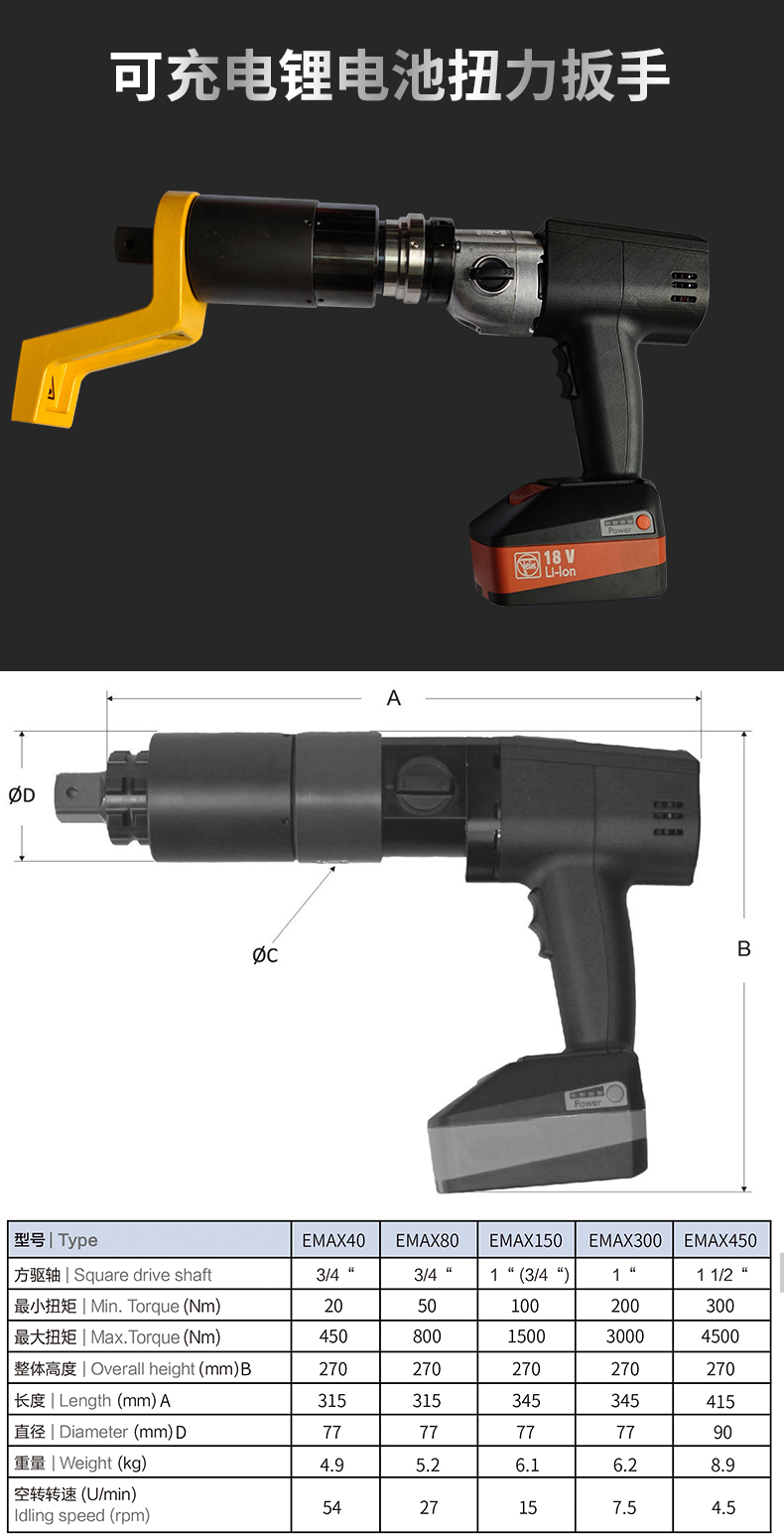 EMAX系列充电扭矩扳手