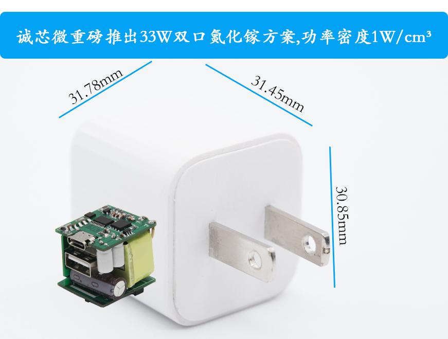 诚芯微重磅推出33W双口氮化镓方案,功率密度1W/cm³