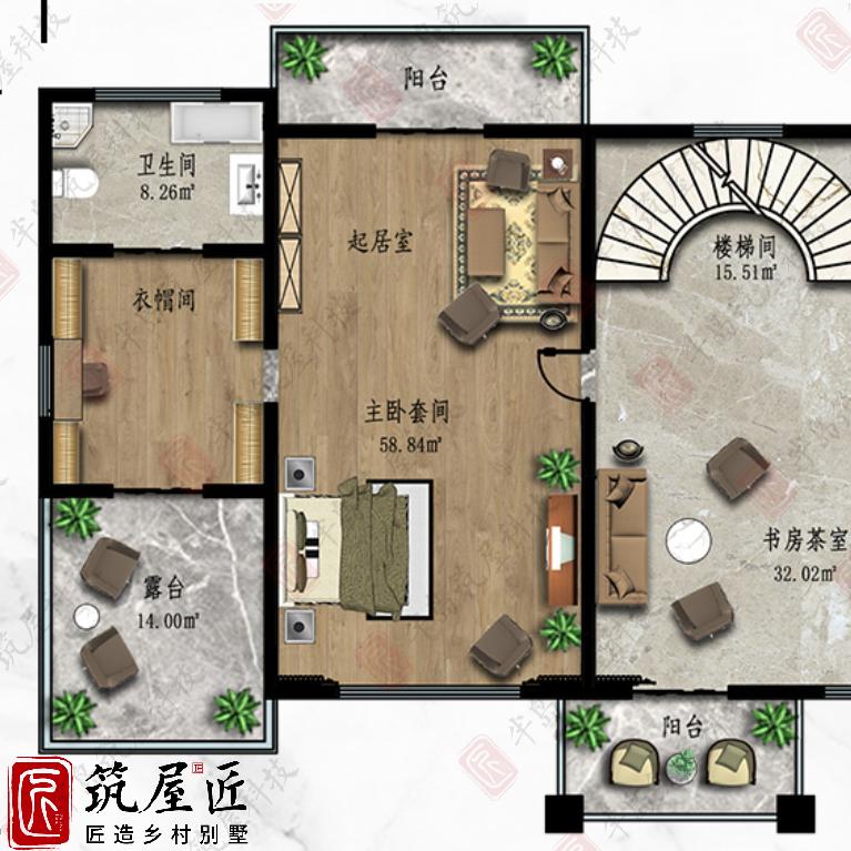 筑屋匠J4简欧风格自建别墅设计赏析,享受超90㎡乡居秘境空间
