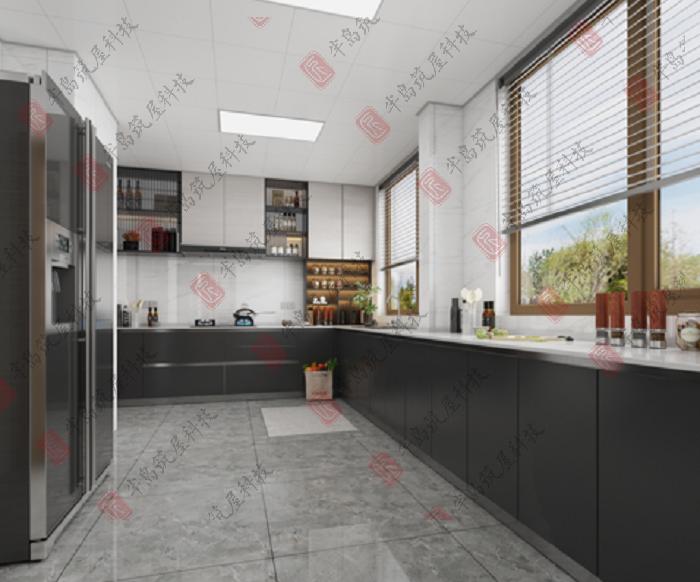 筑屋匠农村自建别墅欧式风格图纸设计:享受超18㎡U型厨房