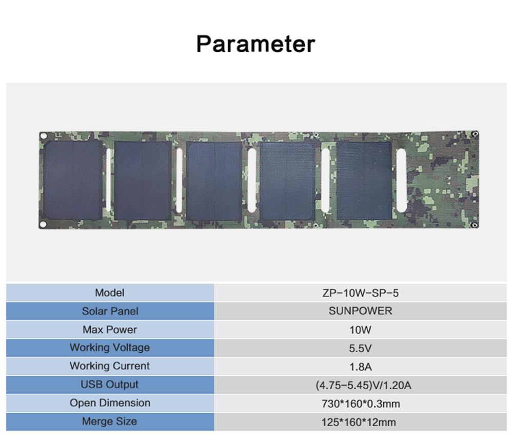 10W Sunpower Folding Solar Panel