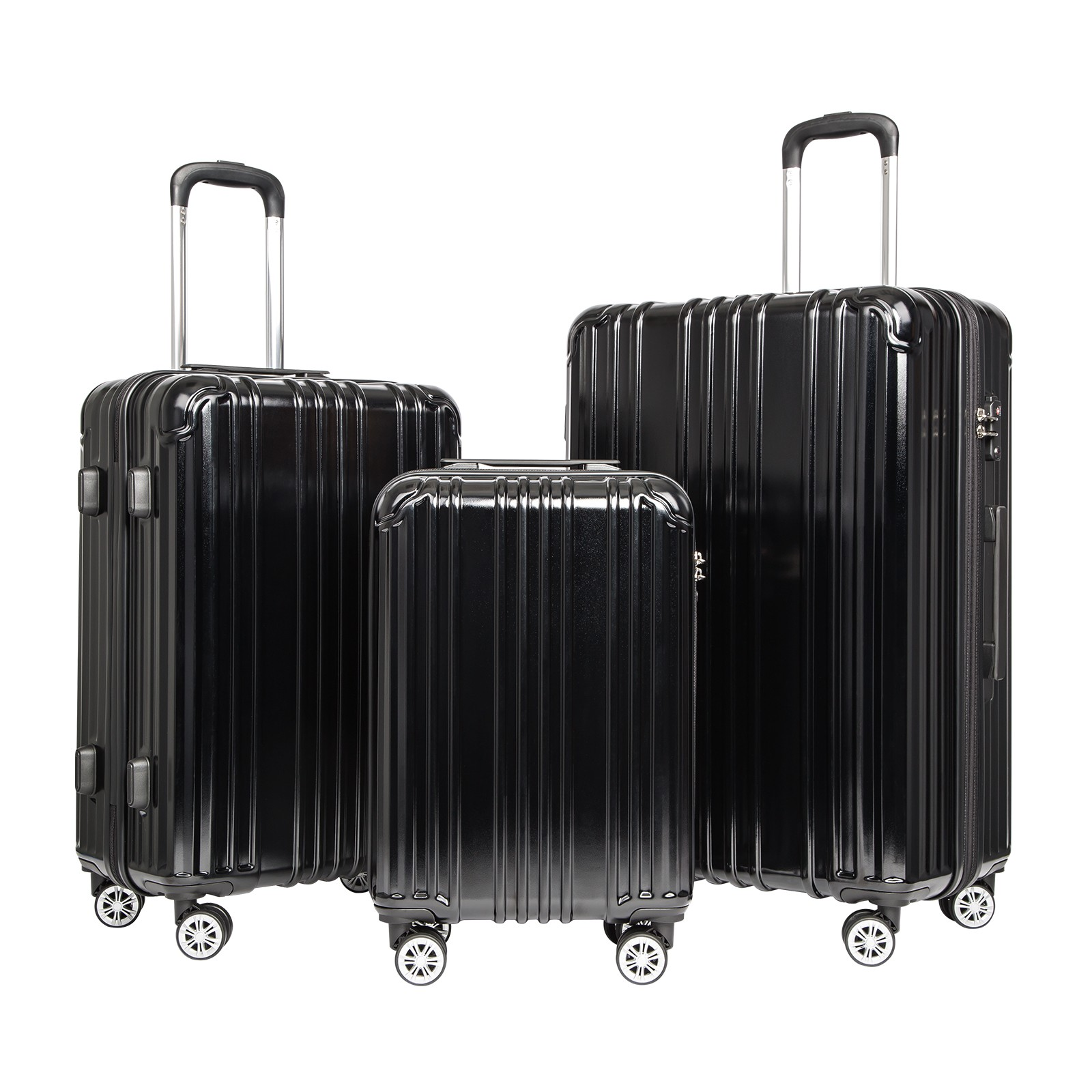 COOLIFE Luggage Expandable Suitcase PC+ABS 3 Piece Set with TSA Lock Spinner Carry on 20in24in28in(Black, 3 piece set)